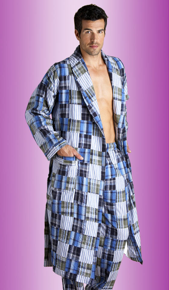 Men's Palmetto Madras Cotton Blue Patchwork Shawl Robe by Majestic International - view 2