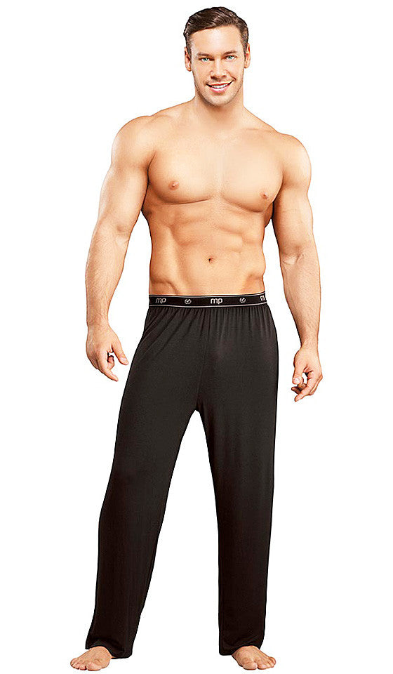 Men's Branded Black Bamboo Knit Lounge Pants by Male Power
