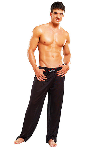Men's Branded Black Silk Knit Pants by Magic Silk
