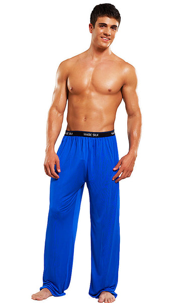 Men's Branded Blue Silk Knit Pants by Magic Silk