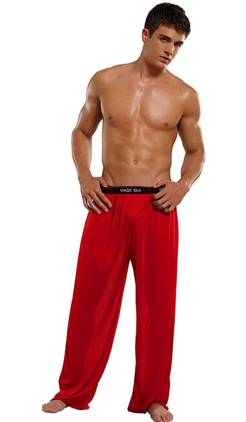 Men's Branded Red Silk Knit Pants by Magic Silk