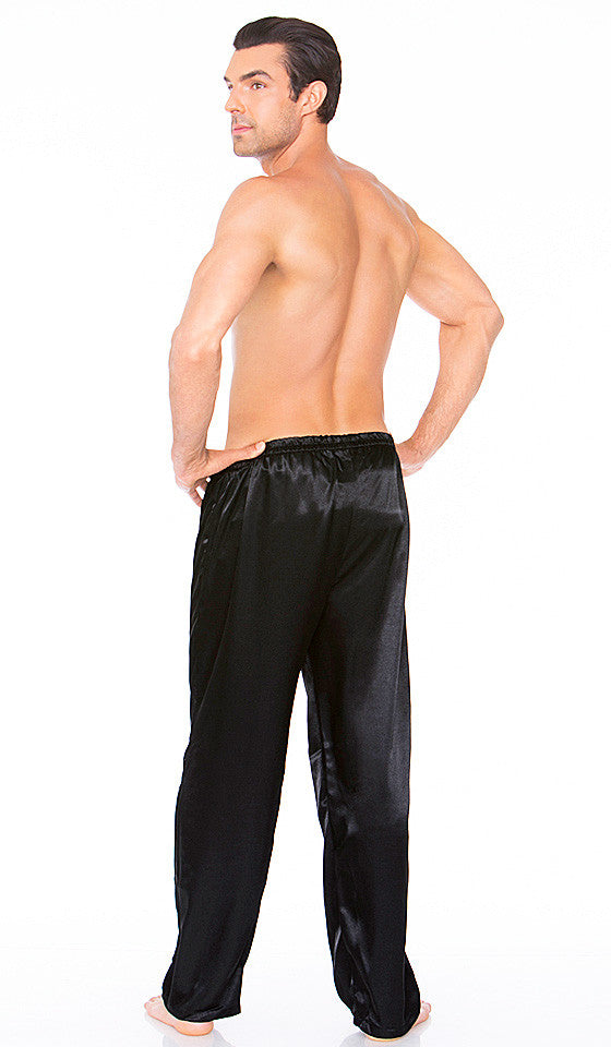 Men's black poly satin pull-on lounge pants