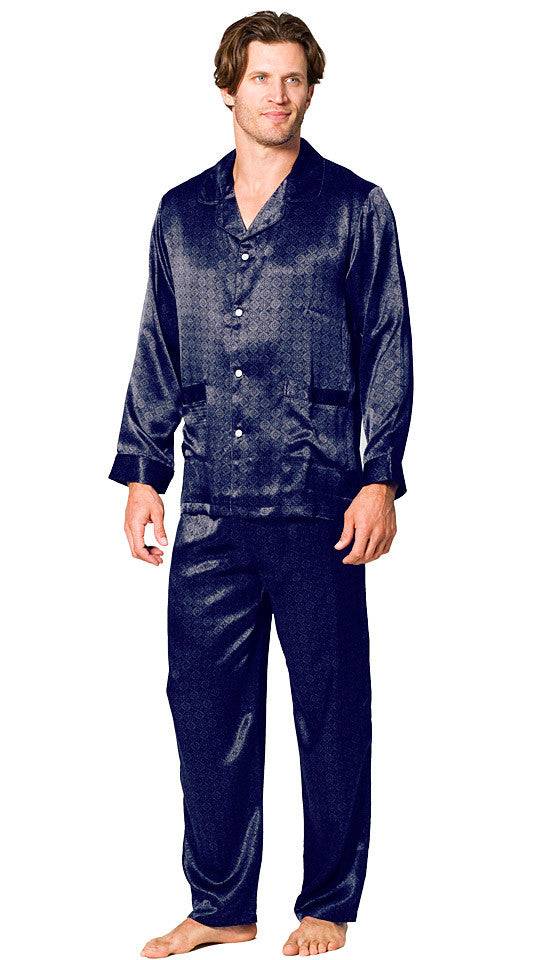 Men's Pajamas - Black Silk Jaquard Belgravia Print Tailored Classic