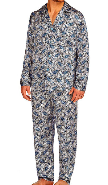Men's classic-style Silk Pajama Set in Blue Paisley Print by Majestic International - view 2