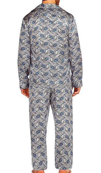 Men's classic-style Silk Pajama Set in Blue Paisley Print by Majestic International - back view