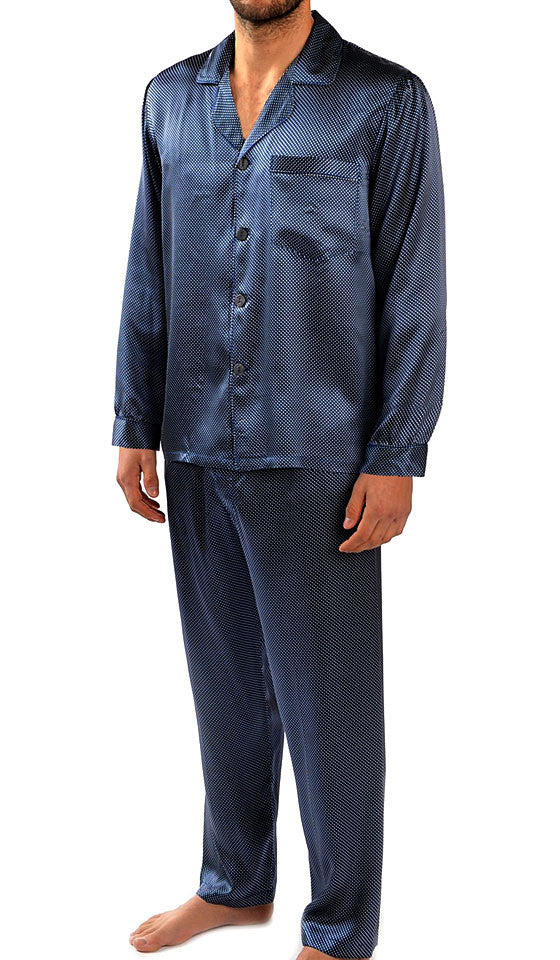 Men's Silk Charmeuse Navy Pin-Dot Pajamas by Majestic International
