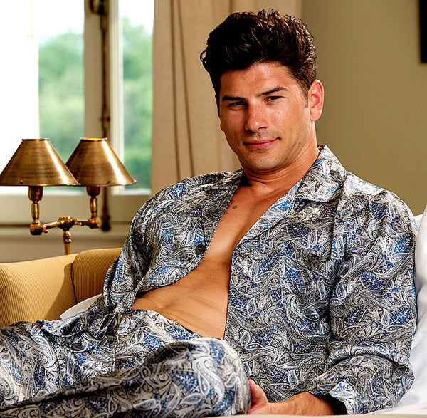 Men's classic-style Silk Pajama Set in Blue Paisley Print by Majestic International.