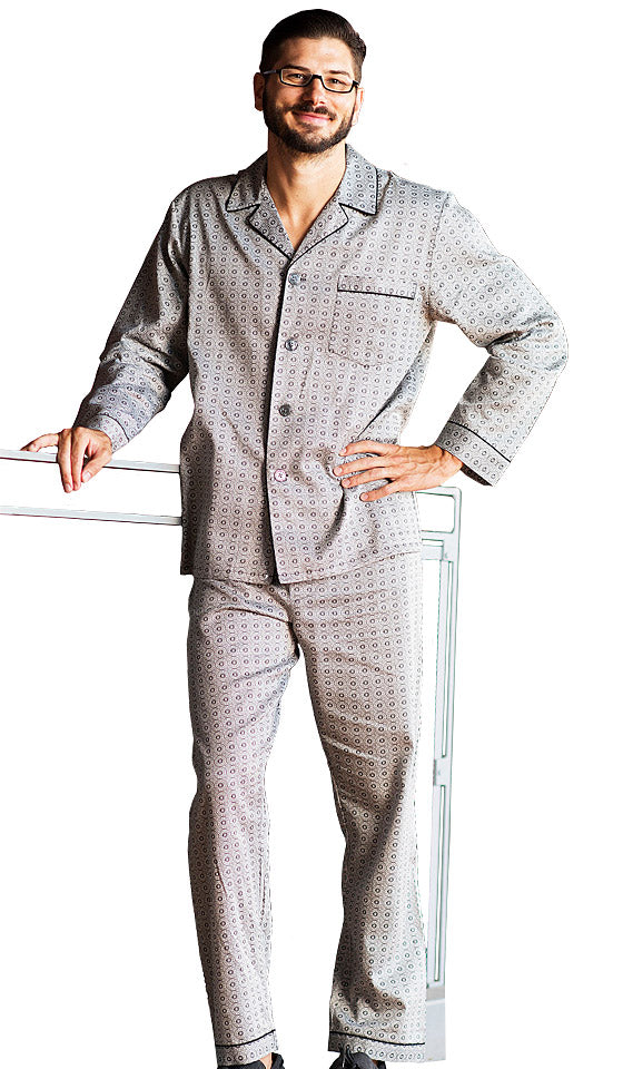 Men's Pajamas - Winterlude Classic Style Cotton Sateen Print  by Majestic International