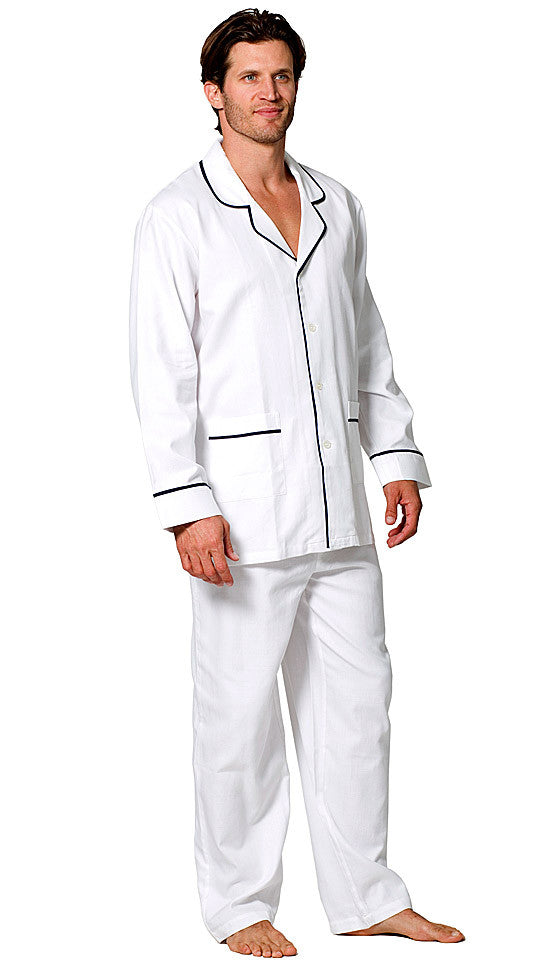 Men's Pajamas - White Cotton Herringbone Classic Style w/Contrasting Piping