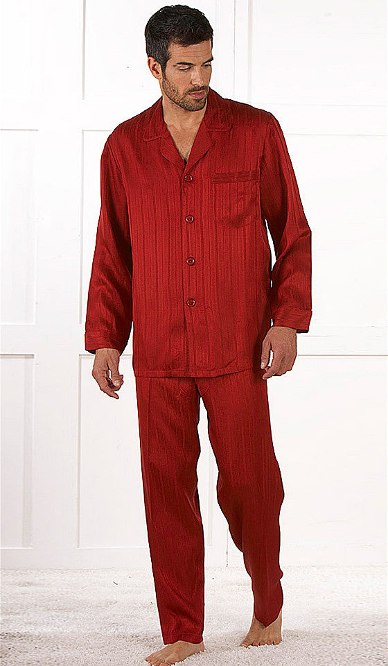 Men's Red classic-style Silk Herringbone Stripe Jacquard Pajamas by Majestic International