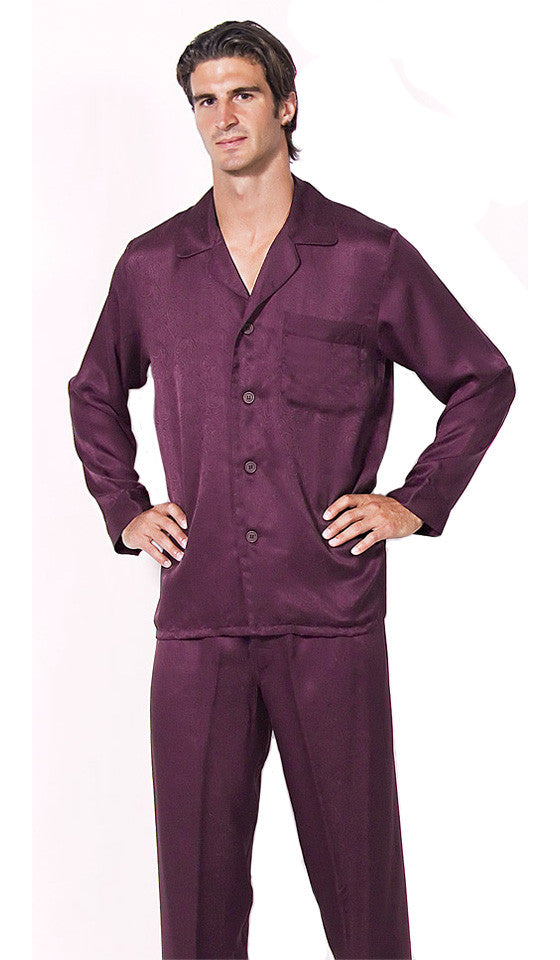 Men's Silk Jacquard Paisley Pajamas in Crimson Red by ManSilk