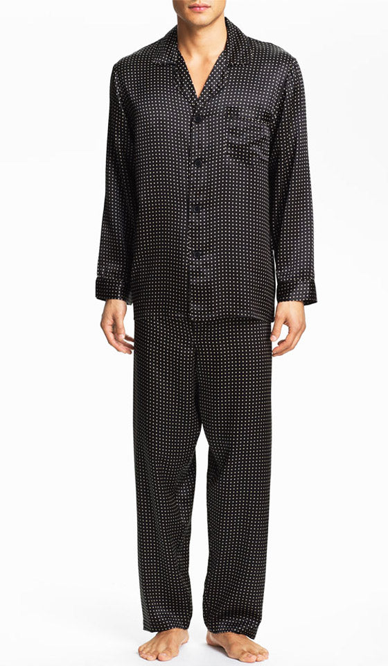 Men's Pajamas - Splendiferous Black Pin-Dot Silk Charmeuse by Majestic International