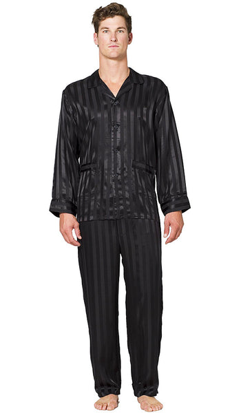 Men's Black Silk Jacquard Stripe Pajamas
