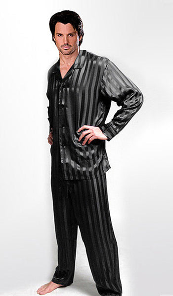 Men's Black Silk Jacquard Stripe Pajamas - view 2
