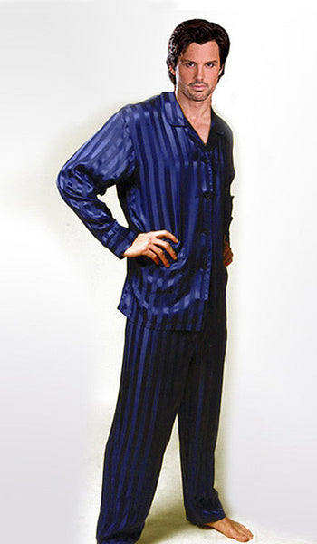 Men's Navy Blue Silk Jacquard Stripe Pajamas