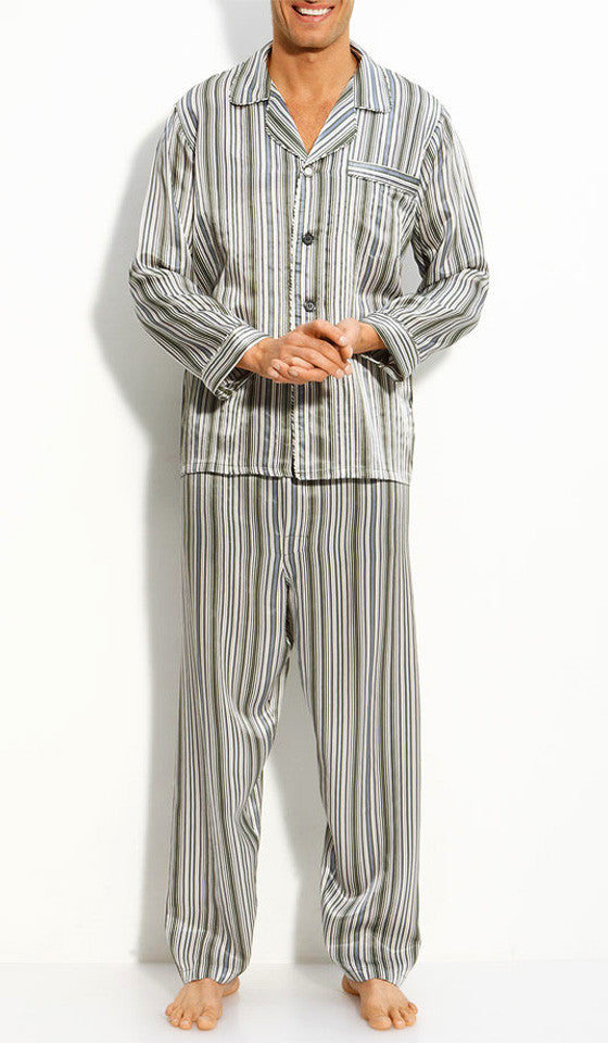 Men's spruce green stripe pajamas by Majestic International.
