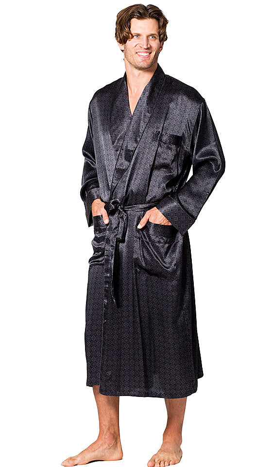 Men's classic style black printed Silk Belgravia tailored shawl robe