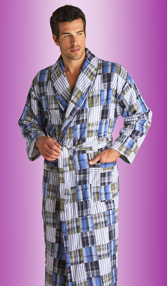 Men's Palmetto Madras Cotton Blue Patchwork Shawl Robe by Majestic International