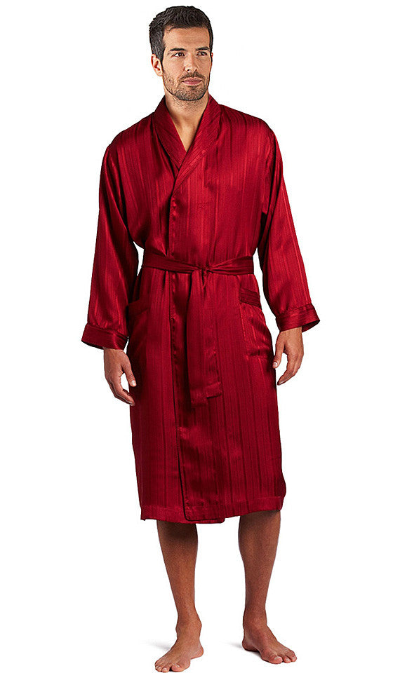 Men's Mahogany Red Silk Herringbone Stripe Robe by Majestic International