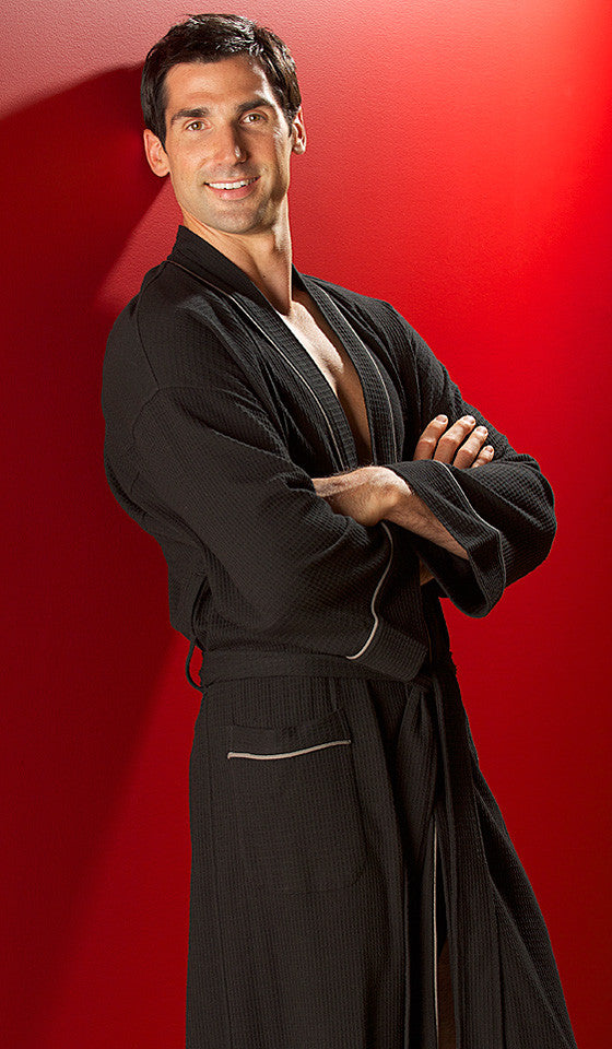 Men's Black Spa Cotton Knit Waffle Robe by Majestic International