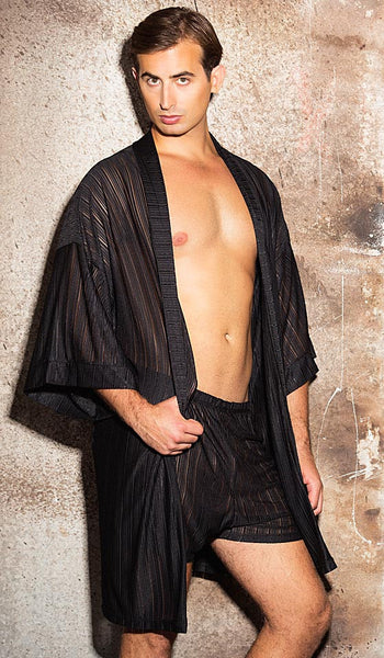 Men's Black Sheer Poly Knit Short Kimono Robe by Gyz