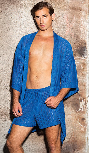 Men's blue sheer poly knit robe and boxer shorts by Gyz
