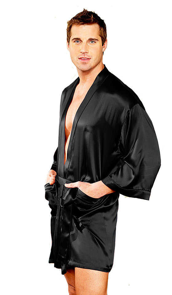 Men's Black Silk Charmeuse Short Kimono Robe by Magic Silk