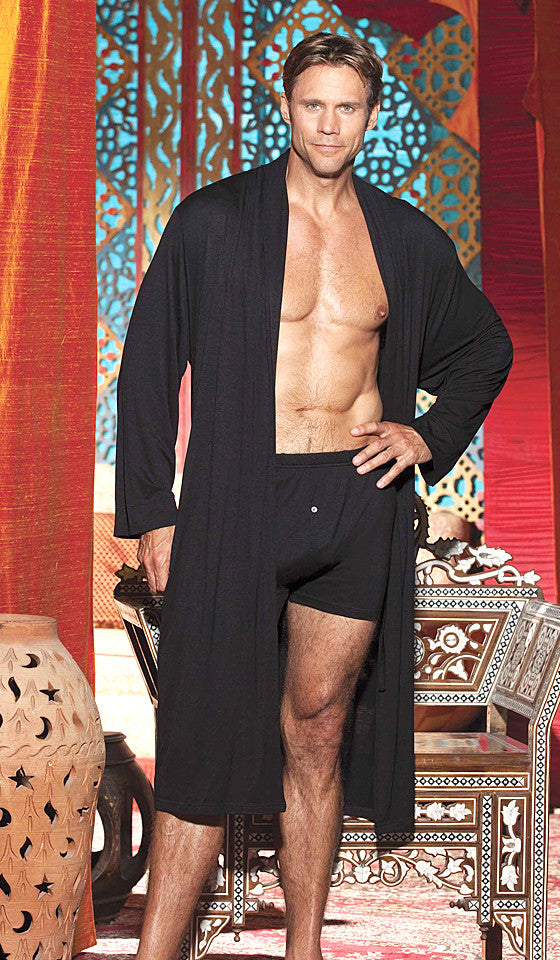 Men's black long soft knit robe with tie belt by Gyz