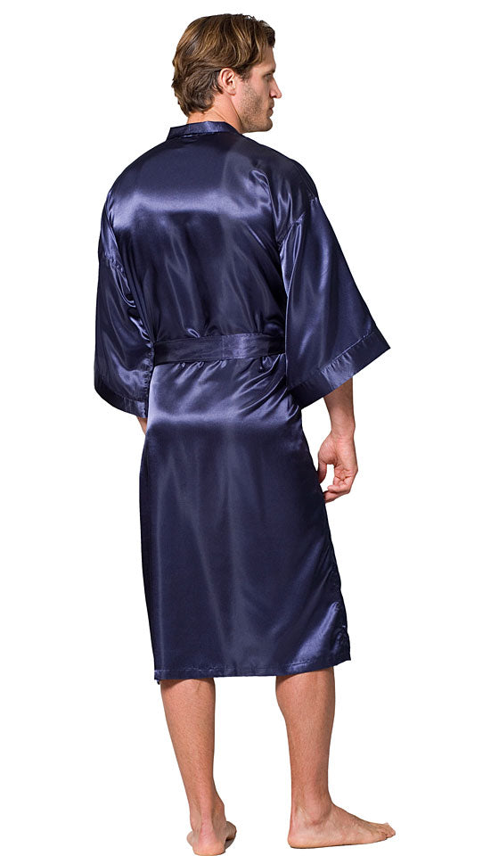 Men's Robe - Navy Long Poly Satin Charmeuse Kimono