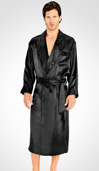 Men's black silk charmeuse classic style robe