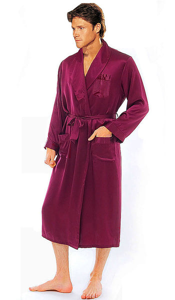 Men's burgundy silk charmeuse classic style robe