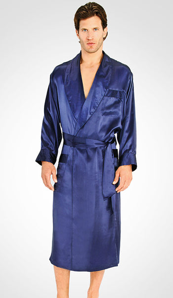 Men's navy blue silk charmeuse classic style robe