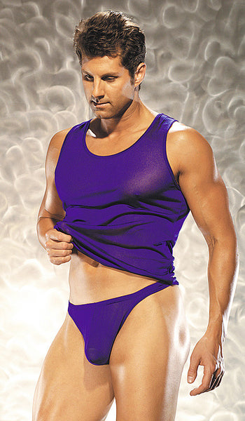 Men's grape silk knit tank top