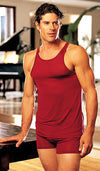 Men's burgundy silk knit tank top