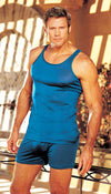 Men's blue silk knit tank top