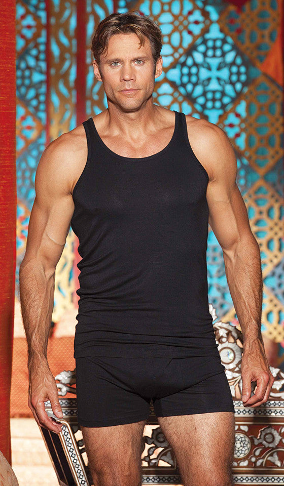 Men's black soft cotton knit tank top and briefs by Gyz