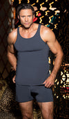 Men's charcoal gray soft cotton knit tank top and briefs by Gyz