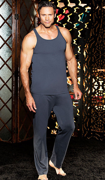 Men's charcoal gray soft cotton knit tank top and lounge pants by Gyz