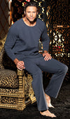 Men's Charcoal Gray Soft Knit Lounge Pants and T-Shirt by Gyz