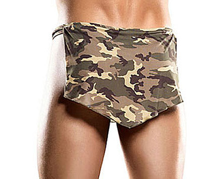Men's Nylon-Spandex Camouflage Print Tarzan Thong by Male Power