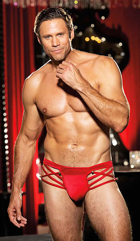 Men's Briefs - Red Strappy Spandex Thong/Brief w/Bells