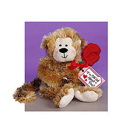 "Plush - ""Wild About You"" Monkey with a Red Rose"