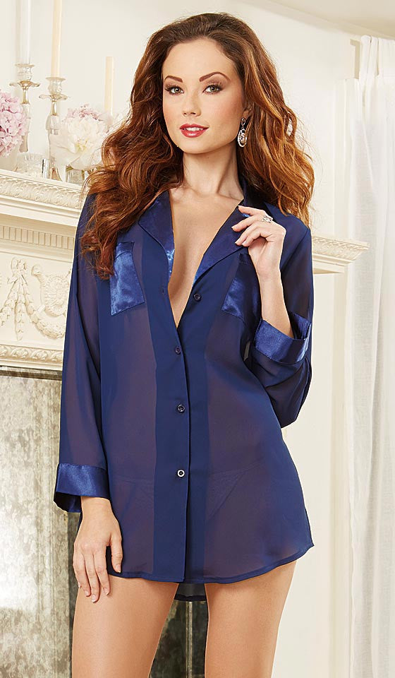 ... Women s Sleep Shirt - Blue Sheer Chiffon   Satin Button-Front by  Dreamgirl ... 44234aa3e