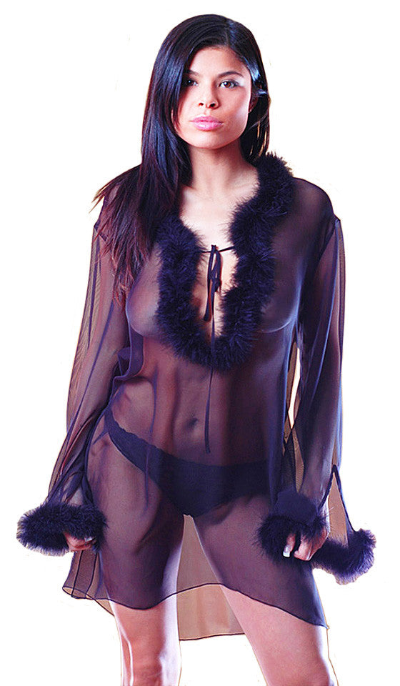 Women's Sleep Shirt - Black Sheer Chiffon w/Marabou Feather Trim