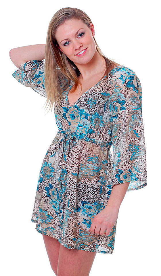 Women's Sleep Shirt - Blue Floral Animal Print Chiffon Pullover