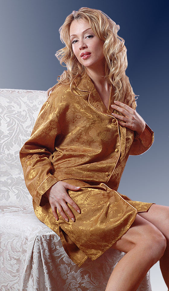 Women's Sleep Shirt - Gold Poly Jacquard w/Piping Trim