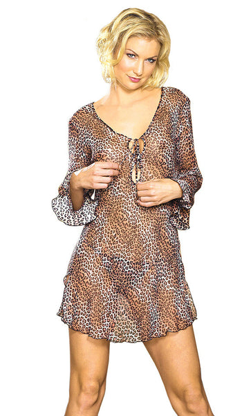 Women's Sleep Shirt - Silk Chiffon Jaguar Print Pullover by Magic Silk
