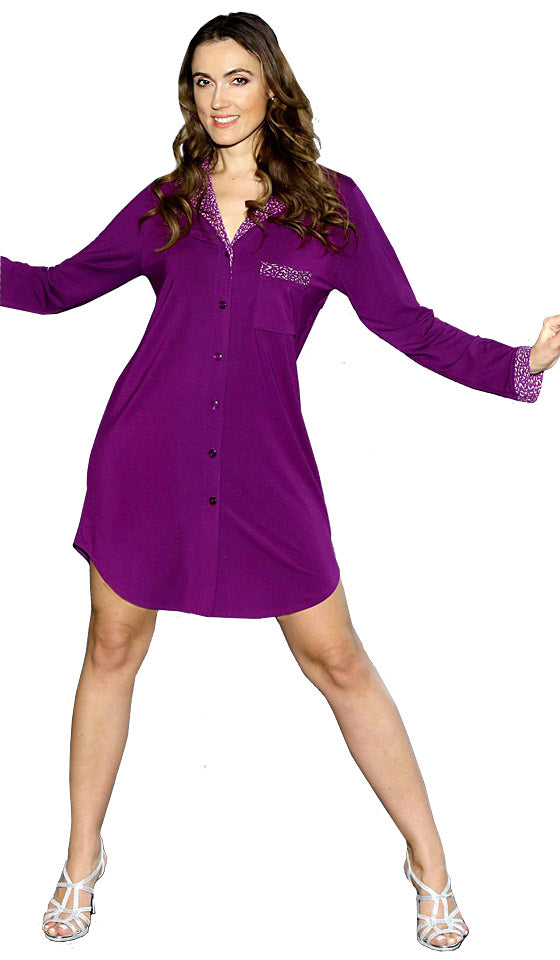 "Women's Sleep Shirt - ""Before Bed"" Cotton Spandex in Grape"