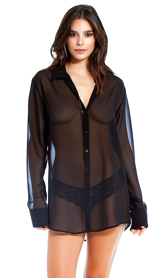 Women's black sheer chiffon button-front sleepshirt by iCollection