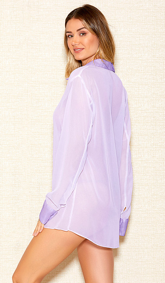 Women's lilac-lavender sheer chiffon button-front sleepshirt by iCollection